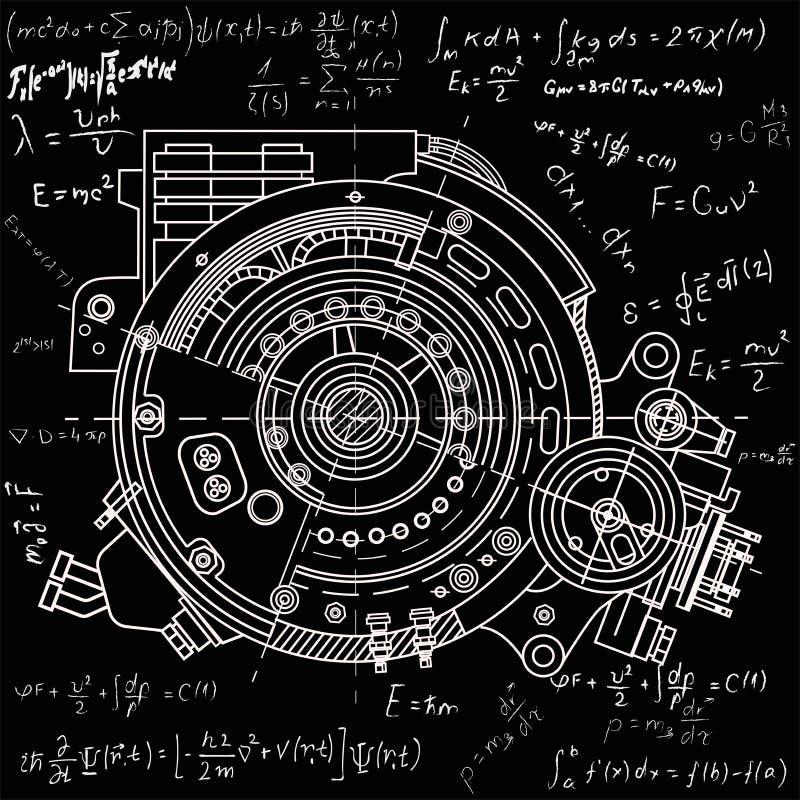 Рисующ электрический двигатель распределите представлять внутреннюю структуру и механизмы Его можно использовать для того чтобы п иллюстрация вектора