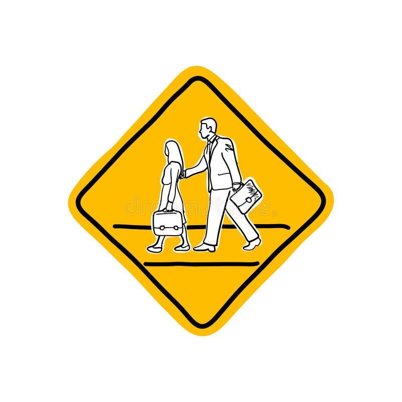 Рисуя желтый предупредительный знак дороги школы vector sket иллюстрации бесплатная иллюстрация