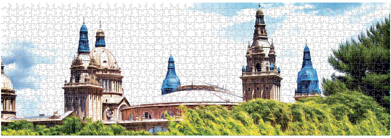 Рисуя музей изобразительных искусств куполов национальный Каталонии на восстановлении в дизайне головоломки панорама иллюстрация вектора