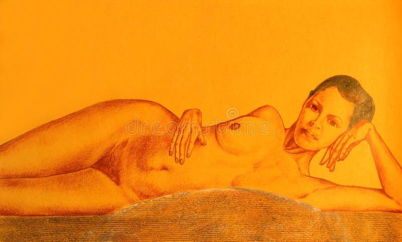 рисуя нагая женщина