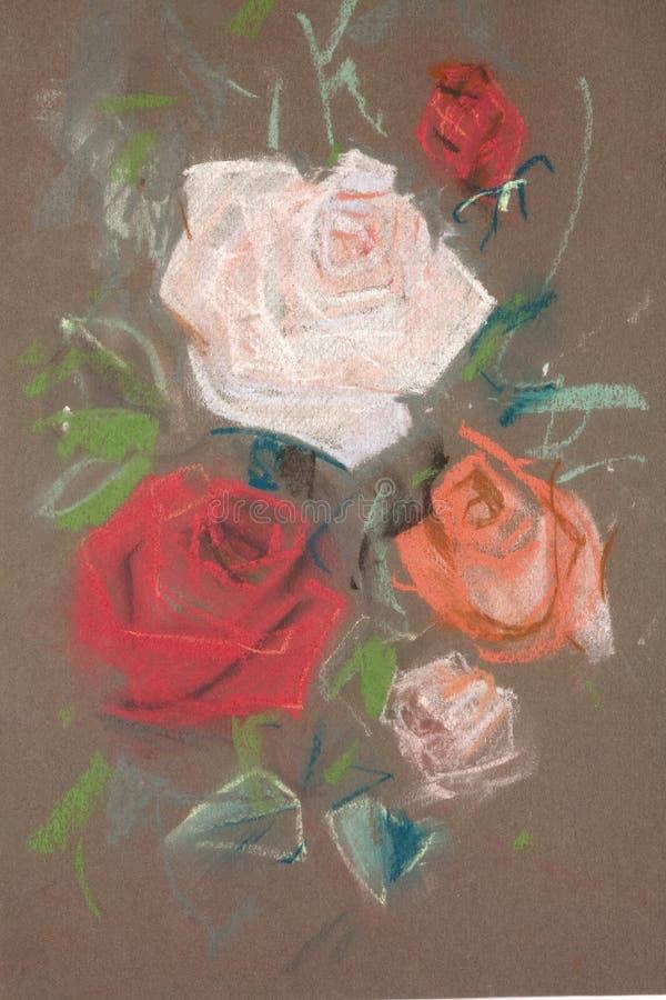 рисуя пастельные розы стоковое фото rf