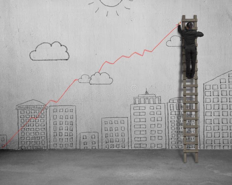 Рисуя растущая красная тенденция на стене бесплатная иллюстрация