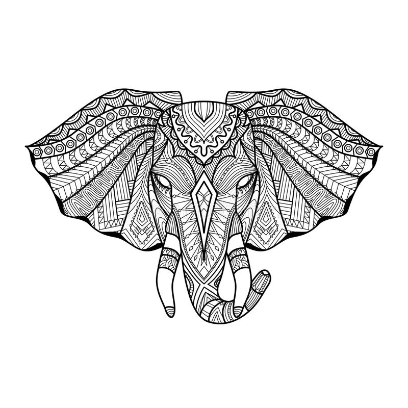 Рисуя уникально этническая голова слона для печати, картины, логотипа, значка, дизайна рубашки, крася страницы иллюстрация штока