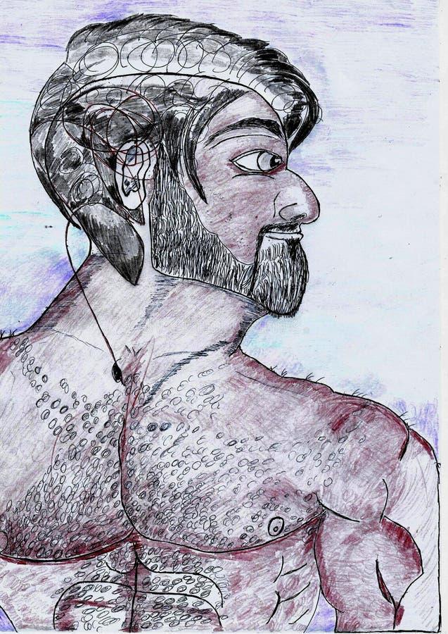 Рисуя человек без мехового рубашки бородатое сильное бесплатная иллюстрация