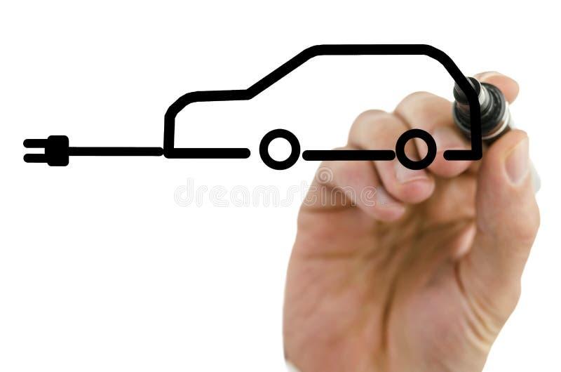 Рисуя электрический автомобиль стоковое фото