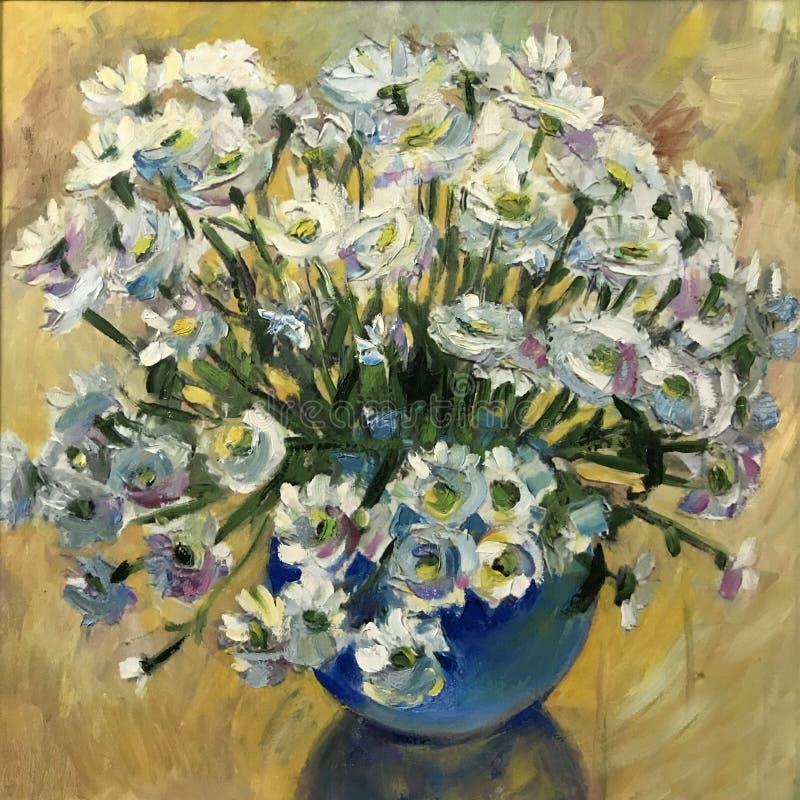 Рисуя яркие camomiles цвести в вазе бесплатная иллюстрация