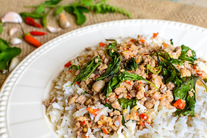Рис покрытый с stir-зажаренными свининой и базиликом стоковые изображения rf