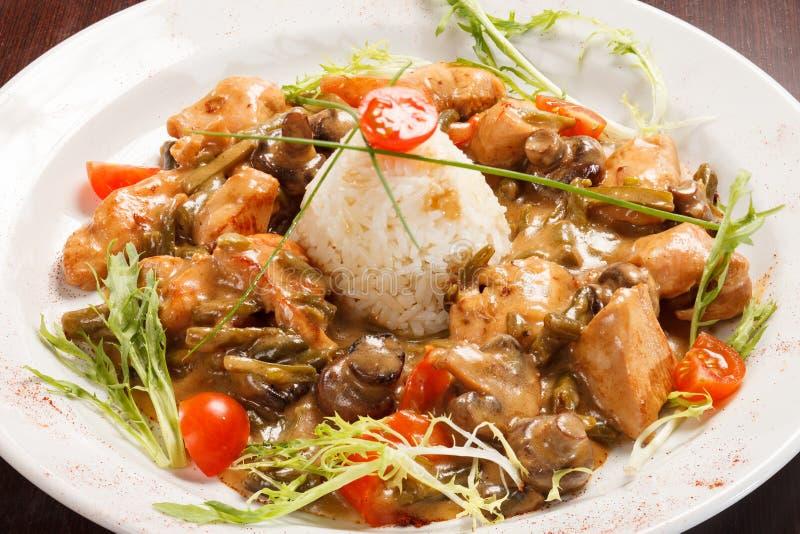 Рис с грибами стоковое фото