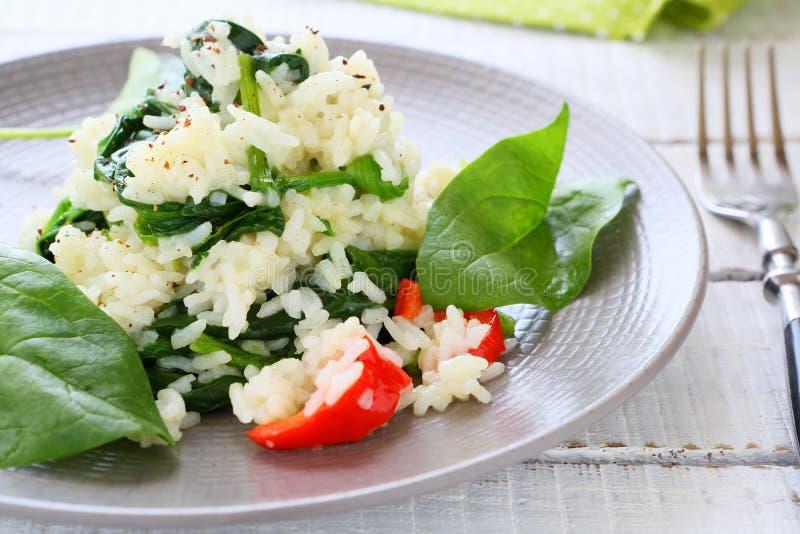 Рис с потушенным шпинатом стоковая фотография