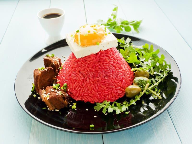 Рис с тофу и яичным желтком стоковые изображения