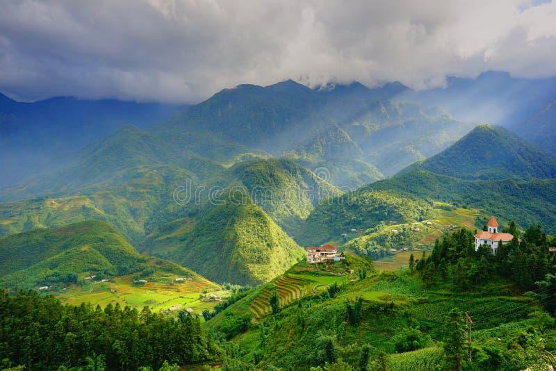 Рис fields на террасном в rainny сезоне на SAPA, Lao Cai, Вьетнаме стоковые фото