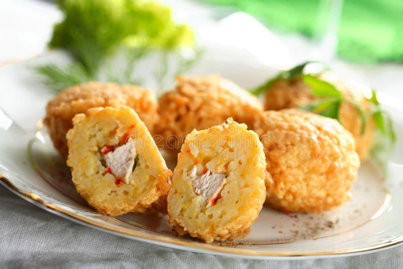 рис meatballs цыпленка стоковое фото rf