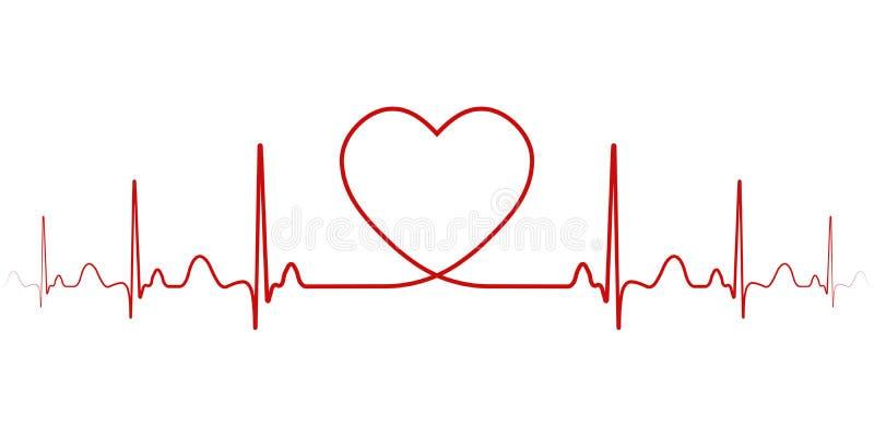 Ритм вектора биения сердца с линией сердца одного, символ положительных эмоций, любовь и воодушевленность, счастливый день Валент иллюстрация штока