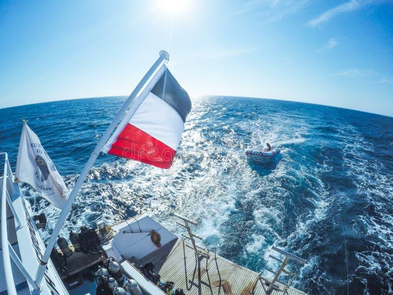 Риф Красного Моря и прокладка песка с голубым небом стоковая фотография rf