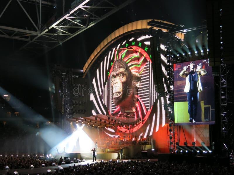 Робби Уильямс в концерте, Амстердам стоковое изображение rf