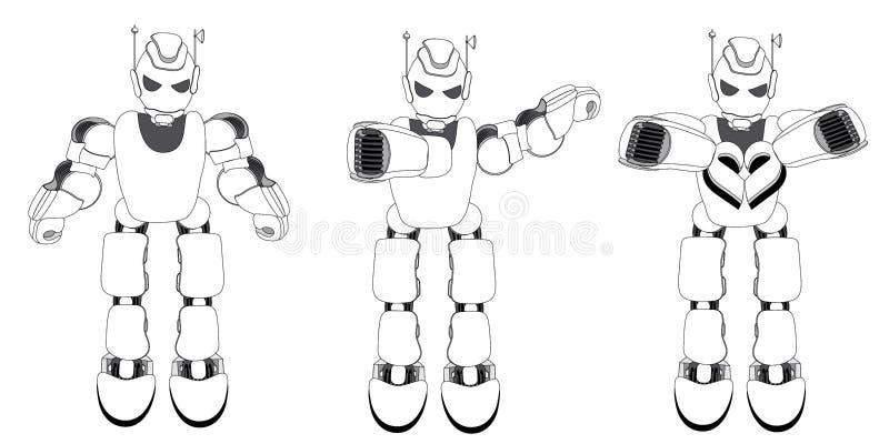 3 робота с различными жестами: жест нейтральных, ЛИМАНДЫ и знак любов сердца стоковые изображения rf