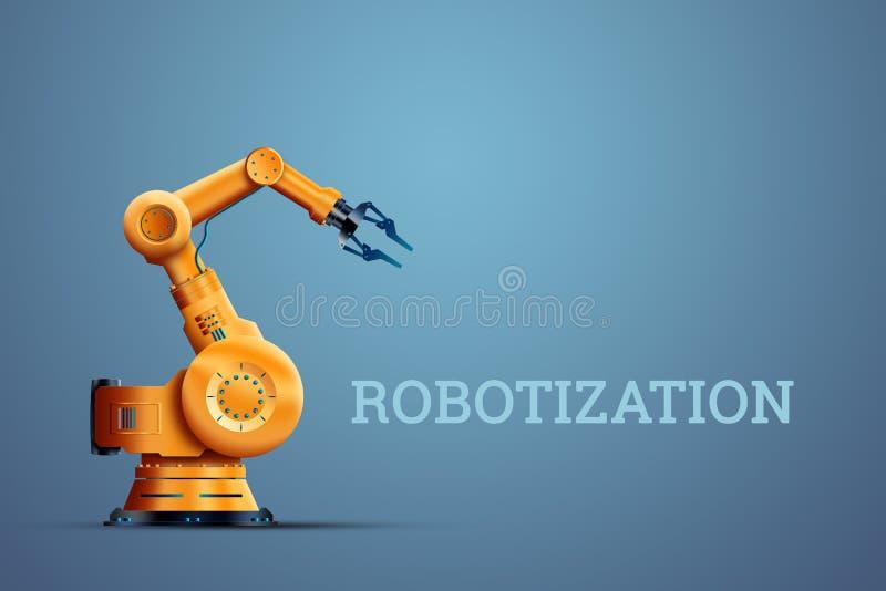 Роботизация, манипулятор промышленного робота, оранжевый на голубой предпосылке Концепция недостатка работ, роботов против людей иллюстрация штока