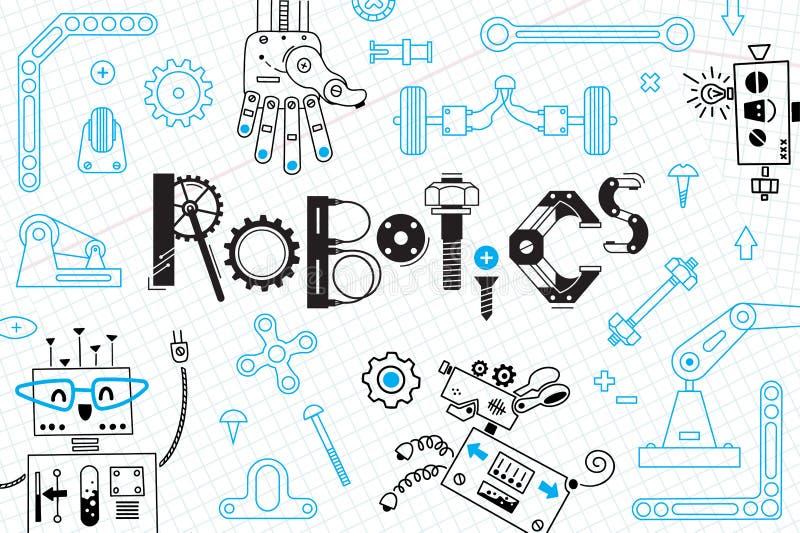 Робототехника для детей текст космоса карточки знамени Роботы и детали для конструкции также вектор иллюстрации притяжки corel иллюстрация штока