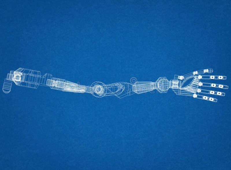 Робототехническая изолированная светокопия архитектора концепции руки - стоковая фотография rf