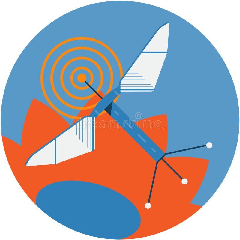Робототехническая иллюстрация значка конспекта пчелы иллюстрация вектора