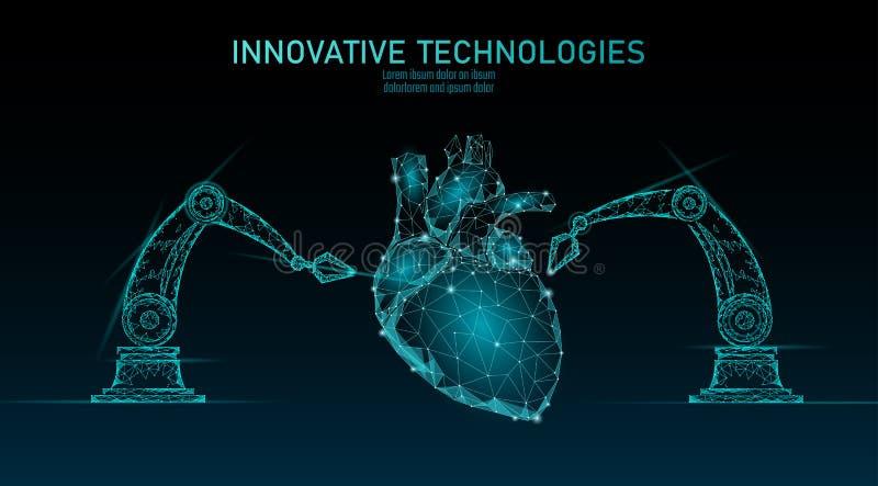 Робототехническая кардиохирургия низко поли Полигональная процедура по хирургии кардиологии Манипулятор руки робота Современное н иллюстрация штока