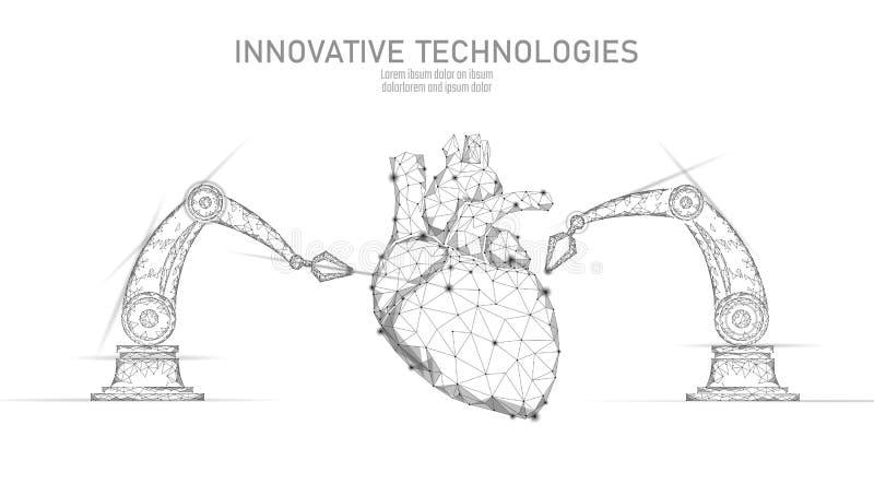 Робототехническая кардиохирургия низко поли Полигональная процедура по хирургии кардиологии Манипулятор руки робота Современное н иллюстрация вектора