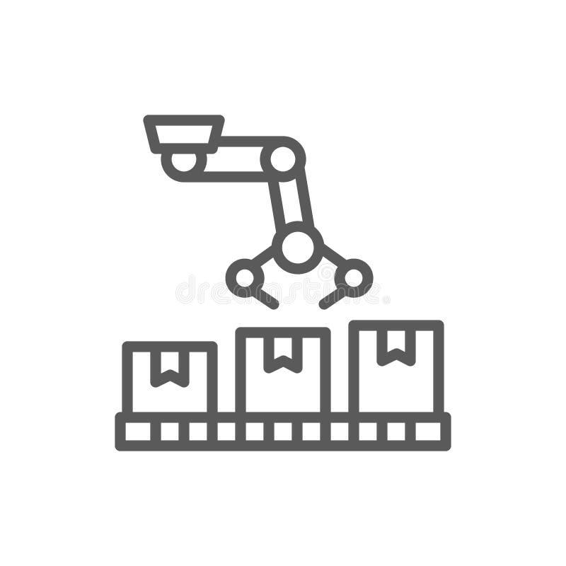 Робототехническая рука на пакуя транспортере, значке производственной линии бесплатная иллюстрация