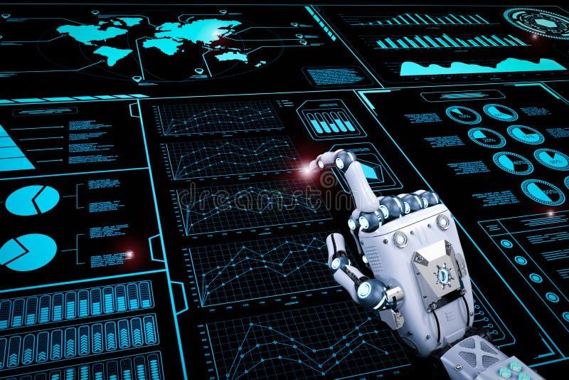 Робототехническая рука работая с дисплеем hud стоковая фотография