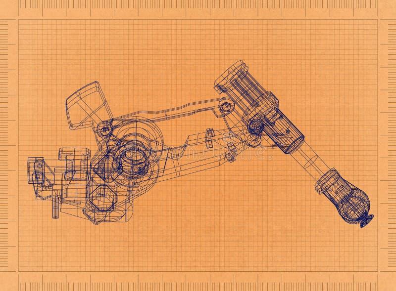 Робототехническая рука - ретро светокопия иллюстрация вектора