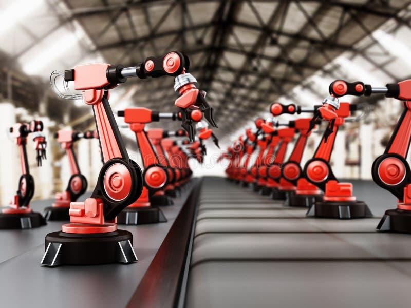 Робототехнические оружия стоя в линии внутри фабрики иллюстрация 3d бесплатная иллюстрация