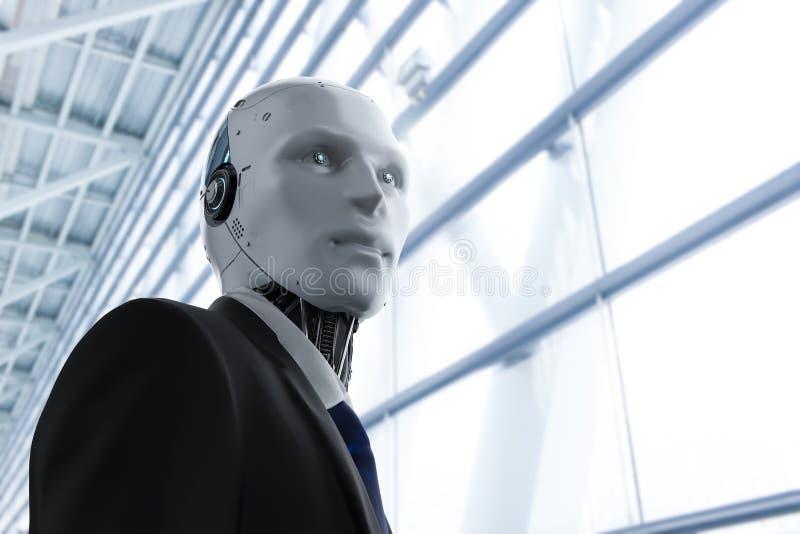 Робототехнический бизнесмен в офисе иллюстрация штока