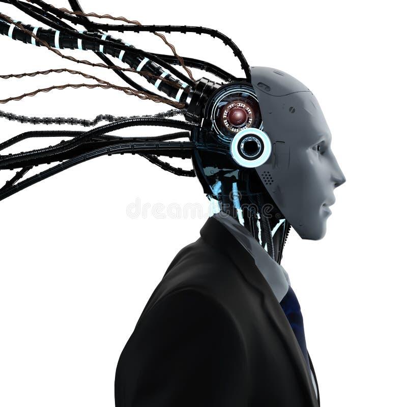 Робототехнический бизнесмен с кабелями бесплатная иллюстрация