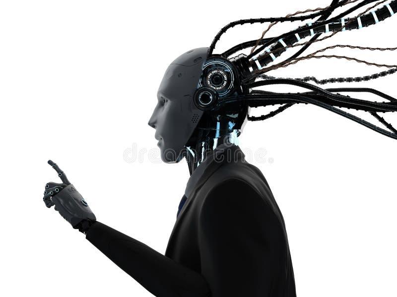 Робототехнический бизнесмен с кабелями иллюстрация вектора