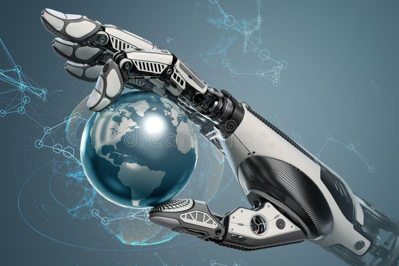 Робототехнический глобус земли удерживания руки с механически пальцами иллюстрация вектора