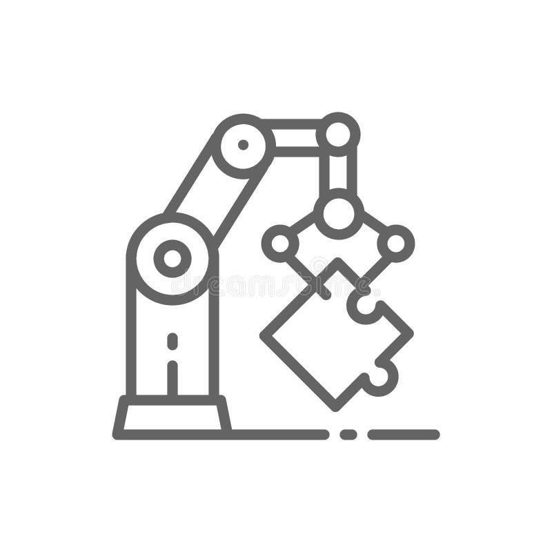 Робототехнический манипулятор руки, промышленная линия значок механической руки иллюстрация штока
