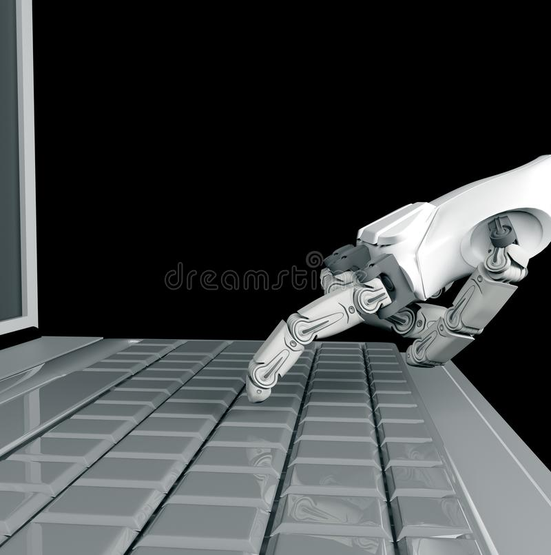 Робототехнический отжимать руки входной на клавиатуре r работа с клавиатурой компьютера иллюстрация штока