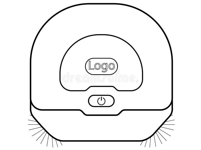 Робототехнический пылесос Изображение Hoover взгляда сверху линейное иллюстрация вектора