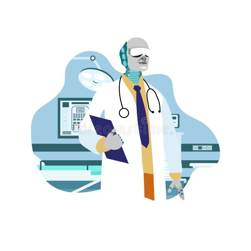 Робототехнический хирург, доктор Плоск Вектор Иллюстрация иллюстрация вектора