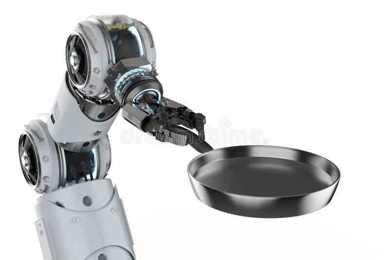 Робототехнический шеф-повар с лотком иллюстрация вектора