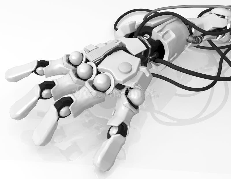 Робототехнической кабели соединенные рукой иллюстрация штока