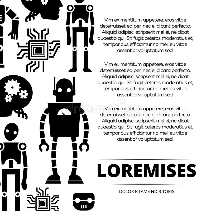 Роботы, киборги и дизайн плаката обломоков бесплатная иллюстрация