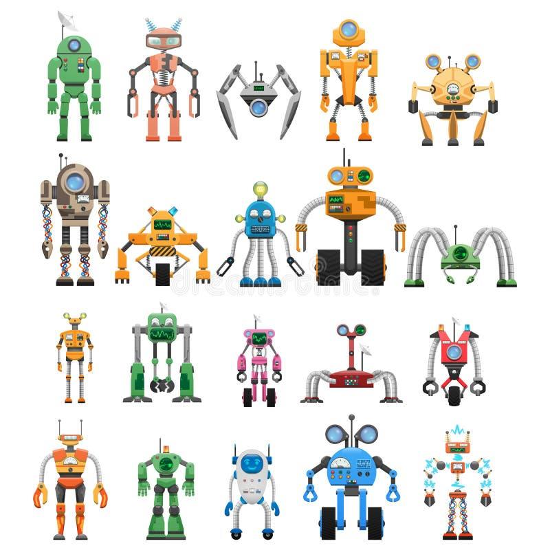 Роботы установили модульные сотруднические машины андроида иллюстрация вектора