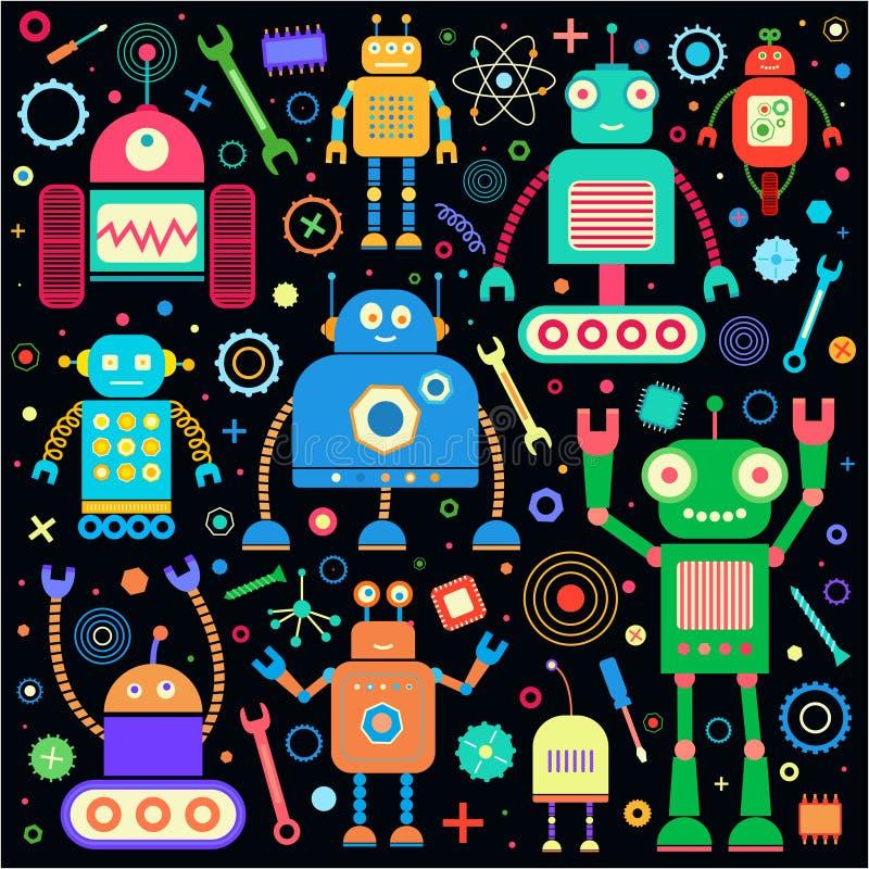 Роботы установленные на черноту иллюстрация вектора