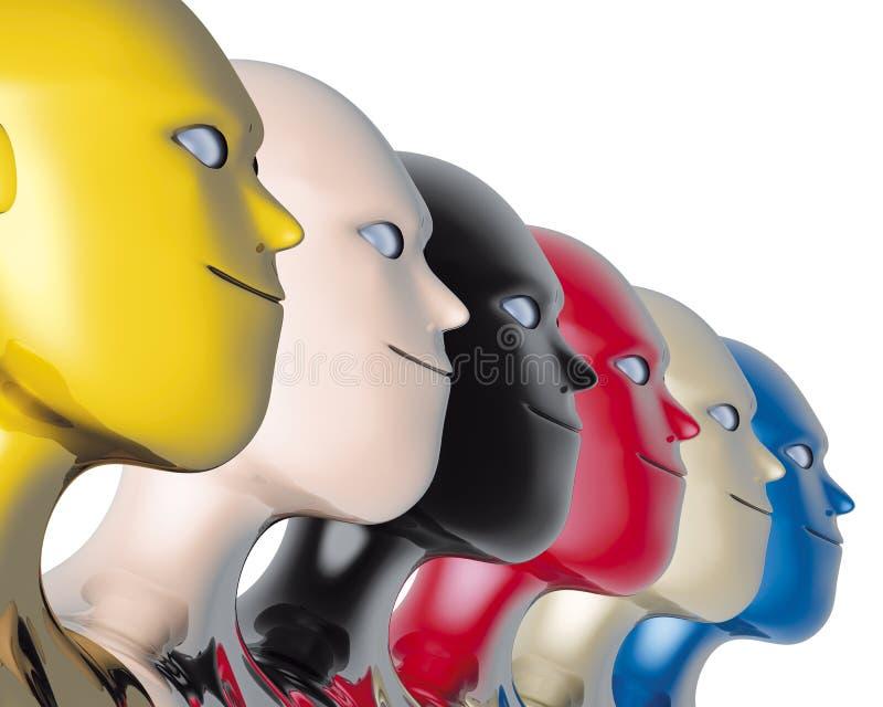 роботы цвета головные иллюстрация вектора