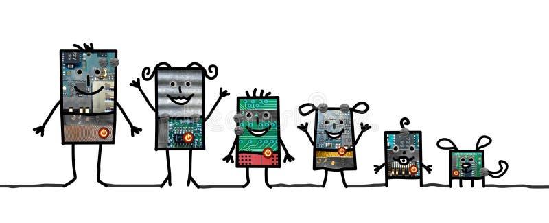 Роботы шаржа - семья бесплатная иллюстрация