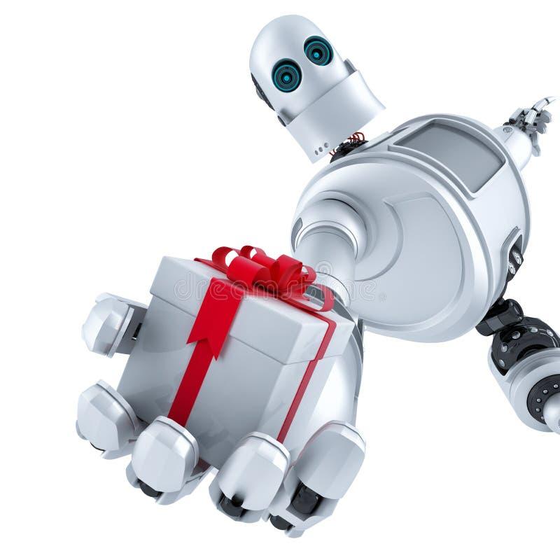 Робот давая подарочную коробку изолировано Содержит путь клиппирования бесплатная иллюстрация