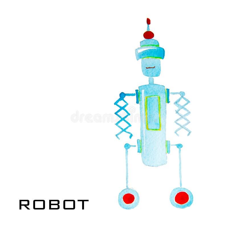 Робот акварели шаржа для детей Красочные изолированные объекты на белой предпосылке иллюстрация штока