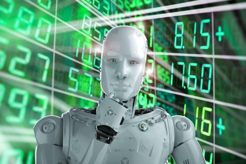 Робот анализирует запас иллюстрация штока
