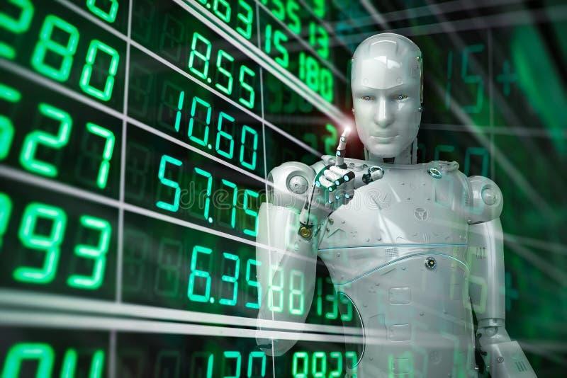 Робот анализирует запас иллюстрация вектора