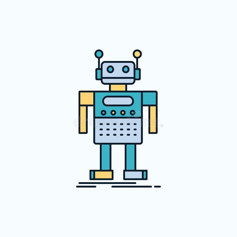 робот, андроид, искусственный, средство, значок технологии плоский r r бесплатная иллюстрация